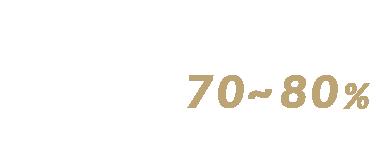 仕上がり目標 70~80%